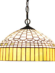 2 - Light Tiffany Pendent Lights with Yellow Fringe