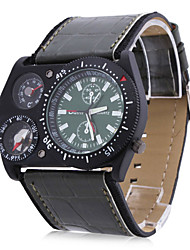 OULM® Men's Military Style Thermometer Compass Function Black PU Band Quartz Wrist Watch Cool Watch Unique Watch Fashion Watch
