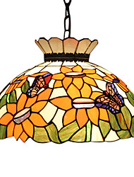 2 - Light Tiffany Pendent Lights with Butterfly Pattern