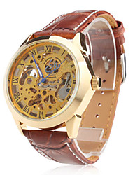 Men's Auto-Mechanical Gold Dial Brown PU Band Wrist Watch