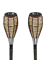 Set de 2 bougies LED solaire en rotin Garden Stake Lampe à gazon