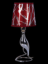Modern Art Table Light with Red Lampshade