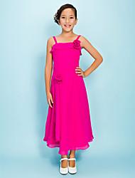 Tea-length Chiffon Junior Bridesmaid Dress - Fuchsia Sheath/Column / A-line Spaghetti Straps