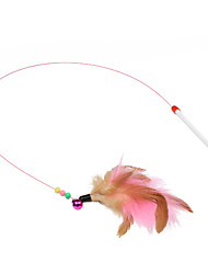 Cat Toy Pet Toys Teaser Feather Toy Stick White Plastic