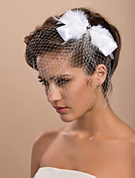 Gorgeous Tulle Wedding Bridal With Feather And Rhinestone Headpiece