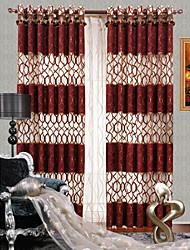 twopages® (un panneau) contemporaine chenille rouge voilage