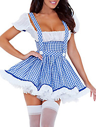 Adult Cosplay Femmes Sexy Maid Slim Souhaitez-Blue Dress Costume (2 pièces)