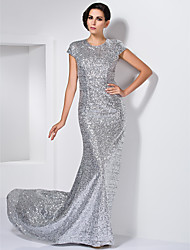 TS Couture Formal Evening Dress - Open Back Sheath / Column Jewel Sweep / Brush Train Sequined with Sequins