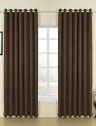 Modern Two Panels Solid Brown Living Room Linen Panel Curtains Drapes