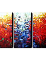 Dipinti a mano olio pittura astratta con telaio allungato - set di 3