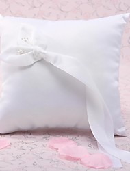 Wedding Ring Pillow In White Satin With Calla Lily