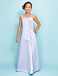 Lanting Bride Floor-length Satin Junior Bridesmaid Dress A-line / Princess Spaghetti Straps Natural with Beading / Split Front
