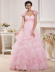 Ball Gown Plus Sizes Wedding Dress - Blushing Pink Floor-length Sweetheart Organza