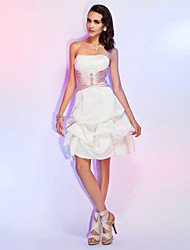TS Couture Cocktail Party Wedding Party Holiday Dress - Short A-line Princess Strapless Knee-length Satin withBeading Pick Up Skirt Sash