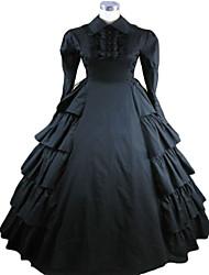 Manga larga palabra de longitud Terylene Negro Estilo Victoria Gothic Lolita vestido