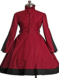 Long Sleeve Knielanger Wine Red Punk Lolita Kleid