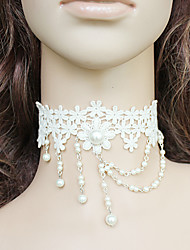 Handmade White Floral Lace Sweet Lolita Necklace with Pearl Tassels