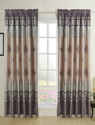 Two Panels Floral  Botanical Multi-color Bedroom Polyester Blackout Curtains Drapes