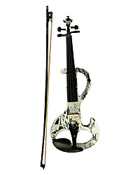 Kinglos - (DSZA-1310) Ebony Parts Electric Violin with Case/Rosin/Bow/Headphone/Cable (Sunflower Design)