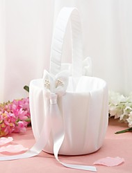 Flower Basket In White Satin With Lily Ribbons Flower Girl Basket