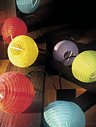 Solar Chinese Party Lantern String Lights (10-Pack)