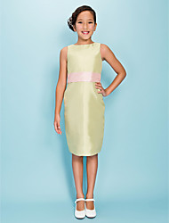 Knee-length Taffeta Junior Bridesmaid Dress Sheath / Column Jewel Natural with Sash / Ribbon