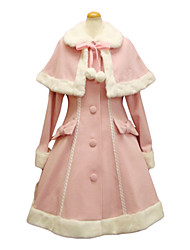 Long Sleeve Pink Velvet Faux Fur Collar Sweet Lolita Coat