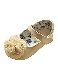 Kids' Leatherette Flat Heel Flats With Satin Flower/Rhinestone Party/Evening Shoes