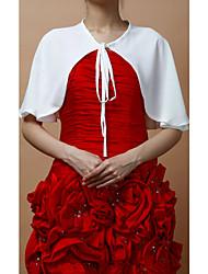 Wraps casamento Mini Capa Sem Mangas Chifon Branco Festa De Amarrar