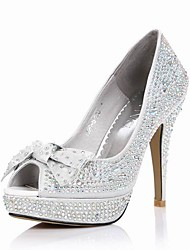 Satin Stiletto Heel Pumps With Rhinestone Wedding Party Shoes