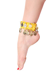 Performance Dancewear Tulle with Coins Belly Dance Anklet For Ladies
