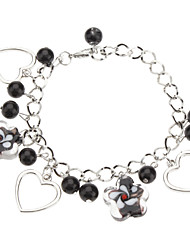 Lily Shape Coloured Glaze with Glass Bead Bracelet
