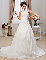 Lanting A-line Halter Chapel Train Taffeta Ruffles Wedding Dress