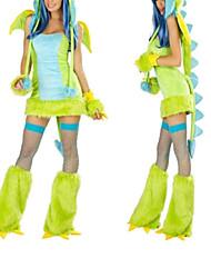 Costumes de Cosplay / Costume de Soirée Animal Fête / Célébration Déguisement Halloween Vert Mosaïque Robe / Gants / Jambières / Chapeau
