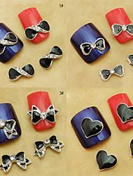 12st 3D Metal Nail Decorations (Black)