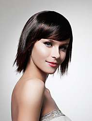 Capless Medium High Quality Synthetic   Nature Look Black Straight Hair Wig