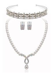 Beautiful Clear Crystals With Imitation Pearls Jewelry Set,Including Necklace,Earrings And Tiara