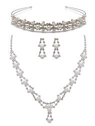 слоновая кость жемчуг из двух частей элегантный падения дамы ожерелье и серьги комплект ювелирных изделий (38 см)