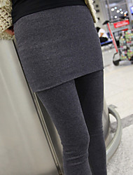 Women's Two Pieces Like Solid Color Slim Skirt Legging