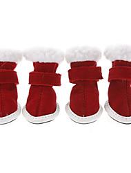 Gatos Cães Sapatos e Botas Natal Ano Novo Inverno Primavera/Outono Cor Única Vermelho Algodão
