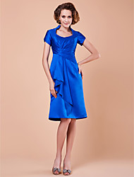 Lanting Bride® A-line Plus Size / Petite Mother of the Bride Dress Knee-length Short Sleeve Satin withDraping / Pick Up Skirt / Criss