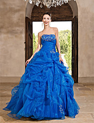 TS Couture Prom Formal Evening Quinceanera Sweet 16 Dress - Vintage Inspired A-line Ball Gown Princess Strapless Floor-length Organza with