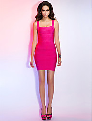 Cocktail Party/Holiday Dress - Fuchsia Sheath/Column Square/Straps Short/Mini Rayon