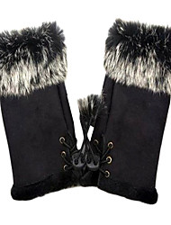 Wrist Length Half Finger Glove - Leather Winter Gloves/Party/ Evening Gloves