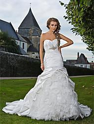 trompete / sereia querida cetim trem strapless capela e organza vestido de noiva
