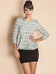 ts verificado trimestre manga cintura plissado blusa de lã (mais cores)