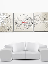 "12 ""-24"" Modern Style Floral Wanduhr in Canvas 3pcs"