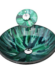 4249 trempé Évier rond en verre Avec navire de vidange Ring et Pop-Up de montage et robinet cascade