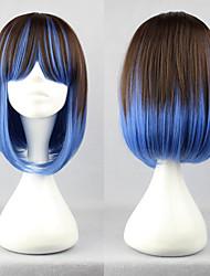 Косплей парик, образ Лолиты, каштановые волосы с синими прядями, длина 40см