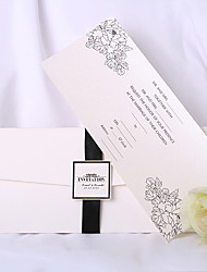 Personalized White Wedding Invitation With Black Ribbon (Set of 50)
